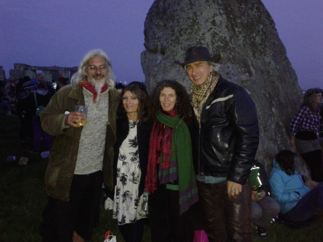 Bumping into friends at Stonehenge, by the Heel Stone just before sunrise, 21 June 2014